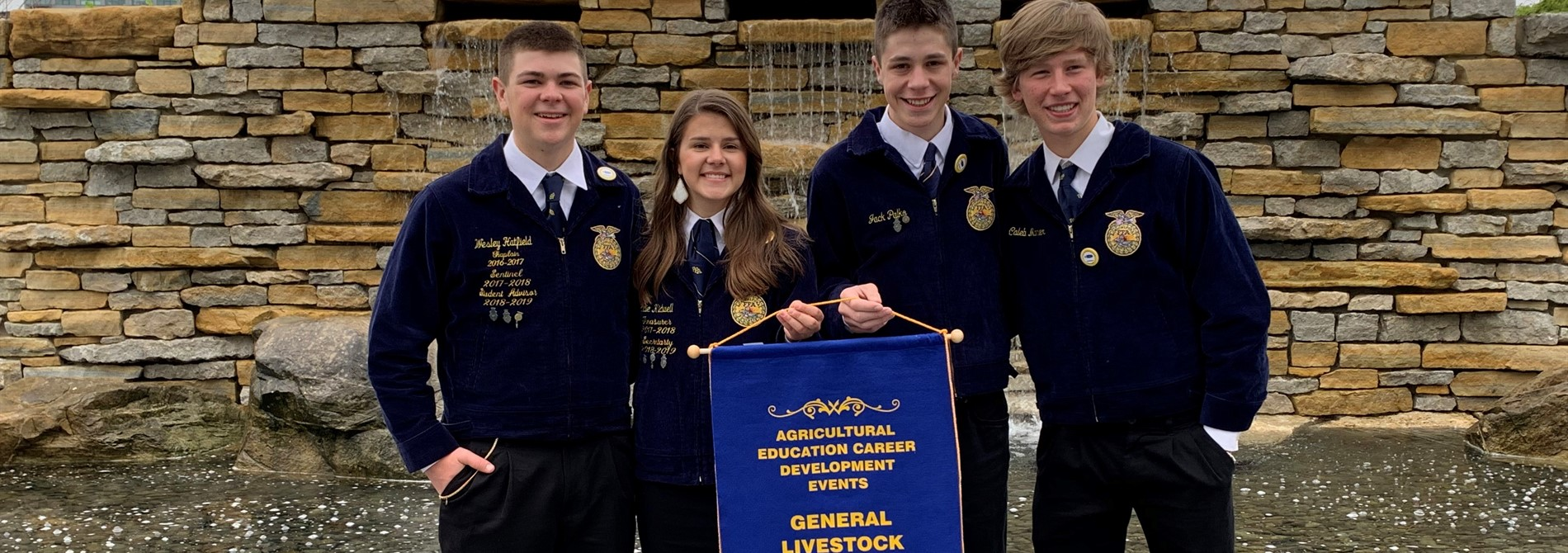 FFA General Livestock Judging Team received their 5th place State Banner!