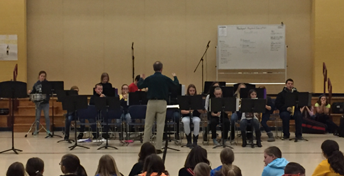 The 5th and 6th grade band performed for their classmates on December 19th.