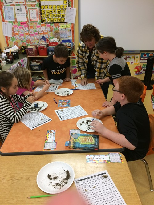 Mrs. Blaney's 3rd graders dissecting owl pellets.