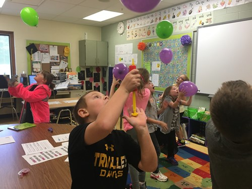 Gravity in action in 2nd grade.