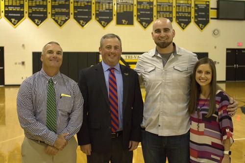 Mr Nezbeth, Mr Shawger and Mrs. Gasparine with speaker and former OSU defensive end, Joel Penton.