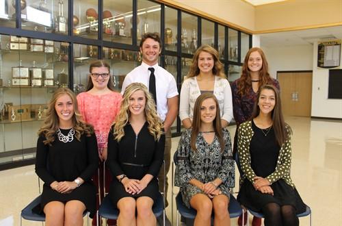 2016 Homecoming Court: Front row; Sierra, Rylie, Rachel, Samantha. Back row; Emma, Bryce, Hanna, Meghan