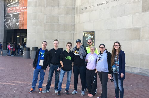 Mr. Brad Sims and students out front of the United States Holocaust Memorial Museum, November 16