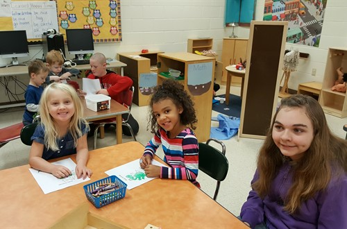 TVMS Students helping with Pre-K