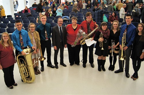 Senior band members with Miss Blevins & Mr. Hudson following their winter holiday concert.