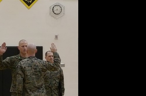 SSgt Dominic Dotson being sworn in during his promotion at TVHS. Congrats to our 2010 graduate on your accomplishment!